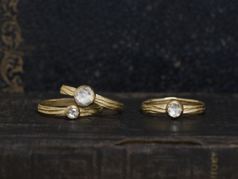 Sitia PM white rosecut diamond rings by Emmanuelle Zysman