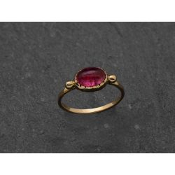 Brunehilde yellow gold pink tourmaline ring by Emmanuelle Zysman