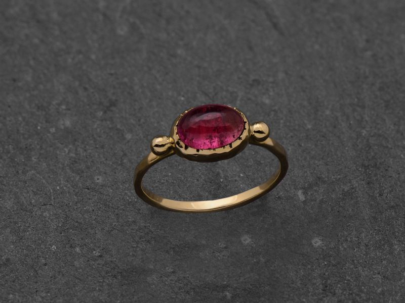 Bague Brunehilde or jaune tourmaline rose par Emmanuelle Zysman