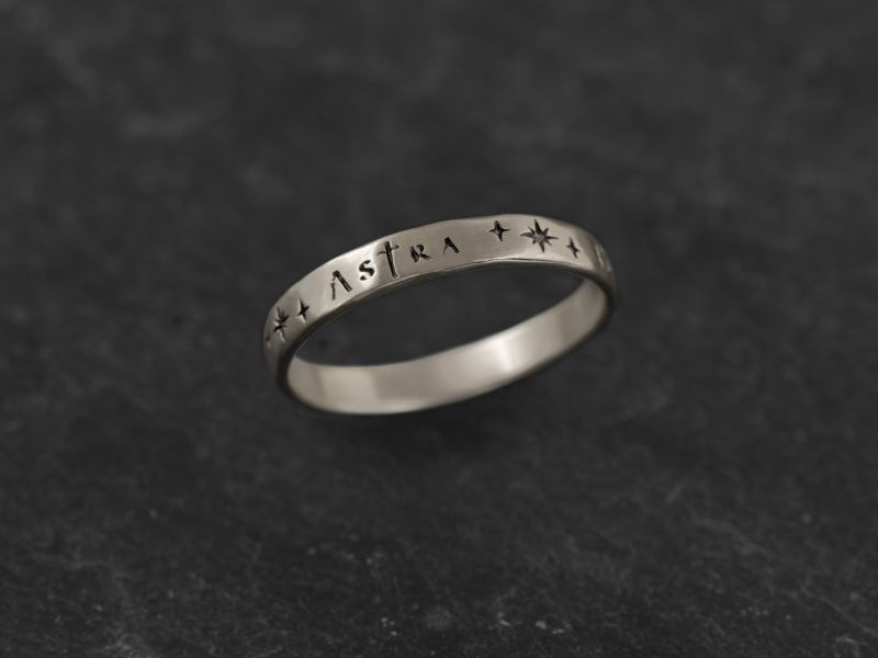 Ad Astra white gold ring for men by Emmanuelle Zysman