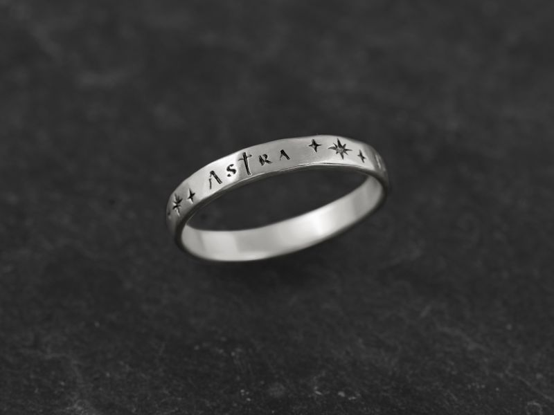 Ad Astra silver ring for men by Emmanuelle Zysman