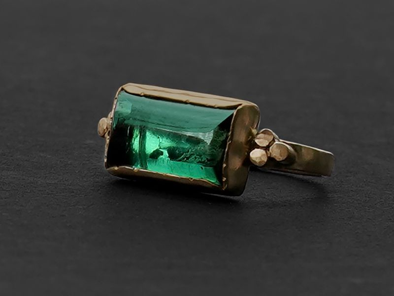 Queen B yellow gold green tourmaline ring by Emmanuelle Zysman