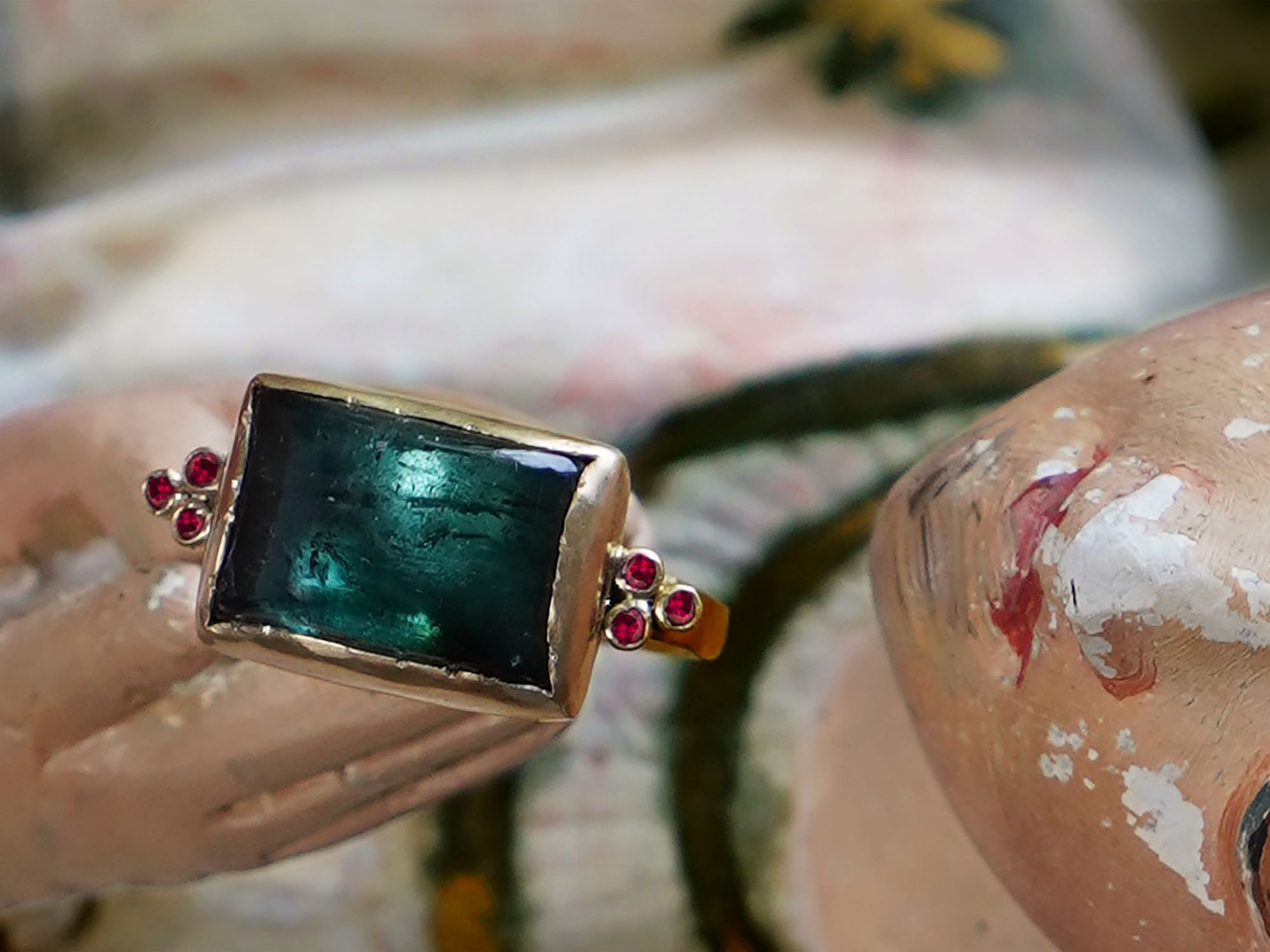 Ruby Queen yellow gold and green tourmaline ring by Emmanuelle Zysman