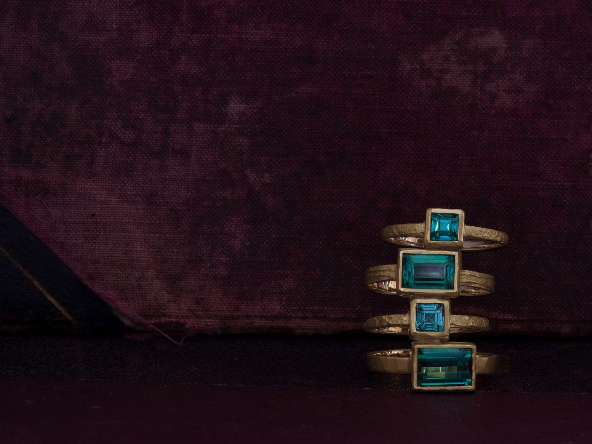 Melisande tourmaline rings by Emmanuelle Zysman