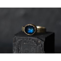 Sitia Blue Rosecut Tourmaline large yellow gold ring by Emmanuelle Zysman
