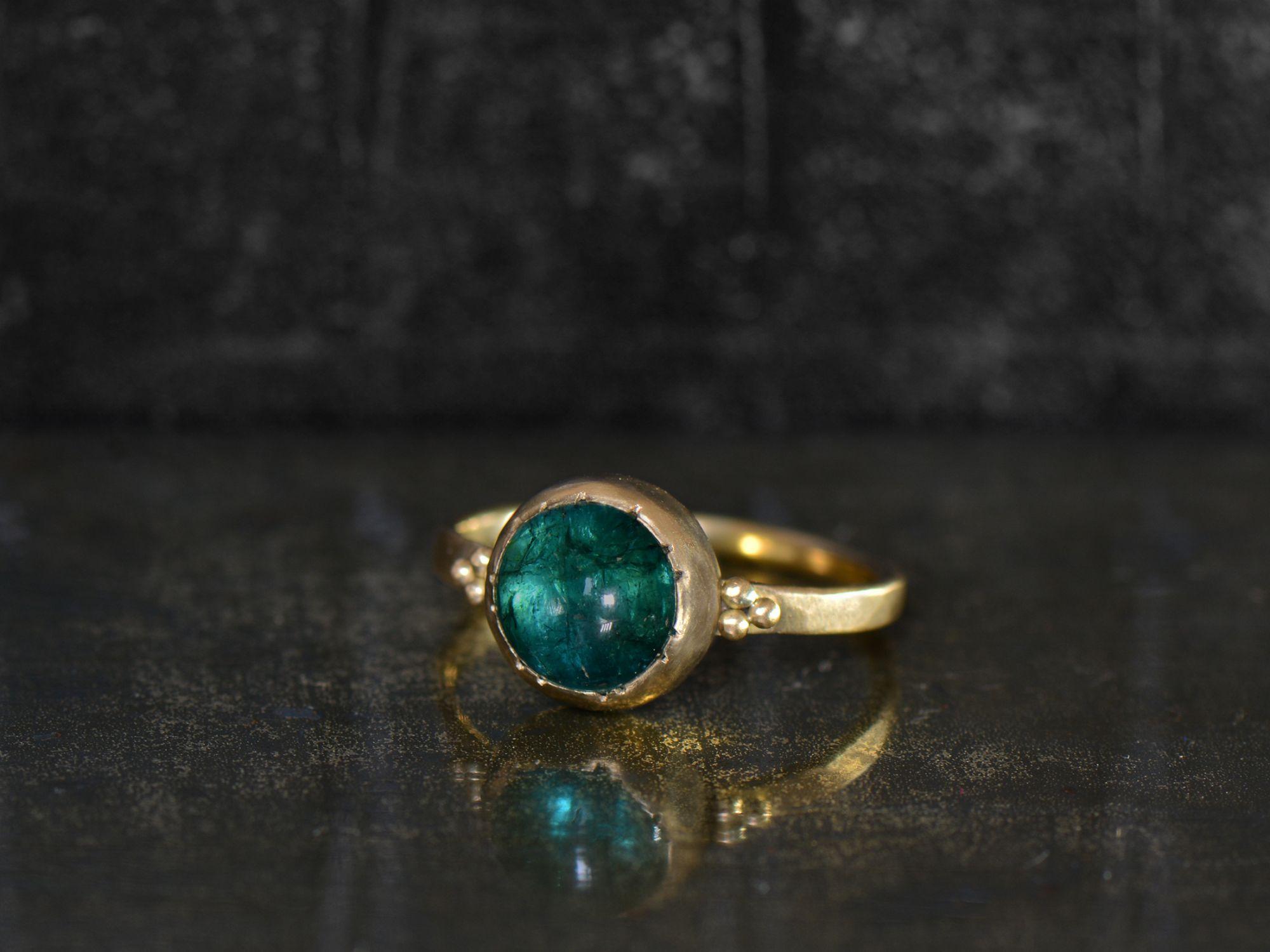 Queen B yellow gold round tourmaline ring by Emmanuelle Zysman