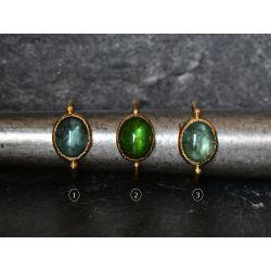 Queen Brunehilde yellow gold oval 8x10mm green tourmaline rings by Emmanuelle Zysman