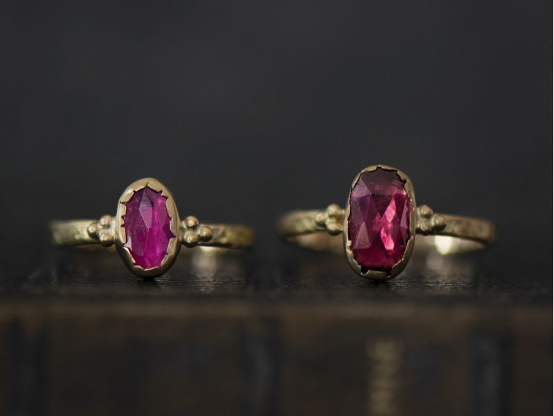 Romy pink oval tourmaline ring by Emmanuelle Zysman