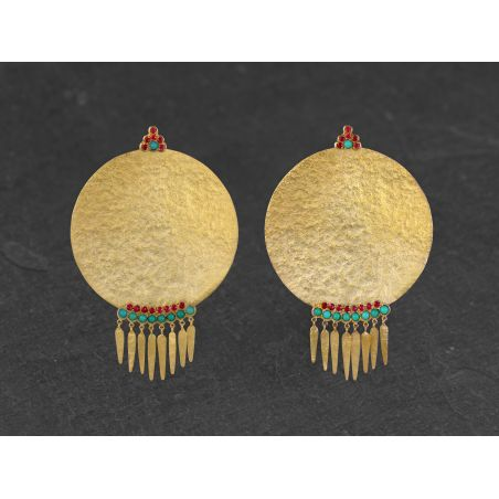BO India Song franges turquoise - spinelle vermeil par Emmanuelle Zysman