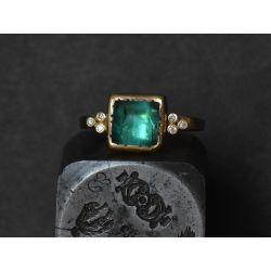 Bague Queen diamants or jaune tourmaline verte 3,40cts par Emmanuelle Zysman