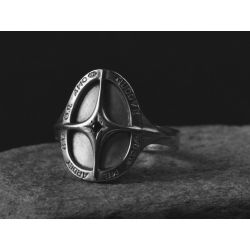 Amo Quod black diamond palladium plated silver ring for men by Emmanuelle Zysman