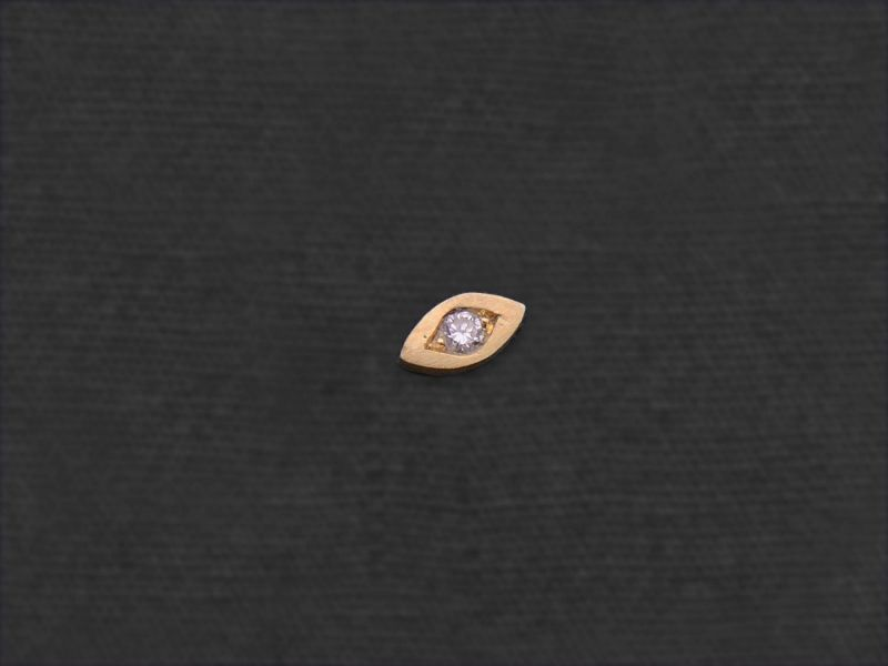 Diamond Eye gold stud earring by Emmanuelle Zysman