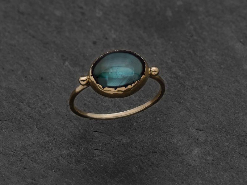 Queen Brunehilde yellow gold oval 8x10mm green tourmaline ring by Emmanuelle Zysman
