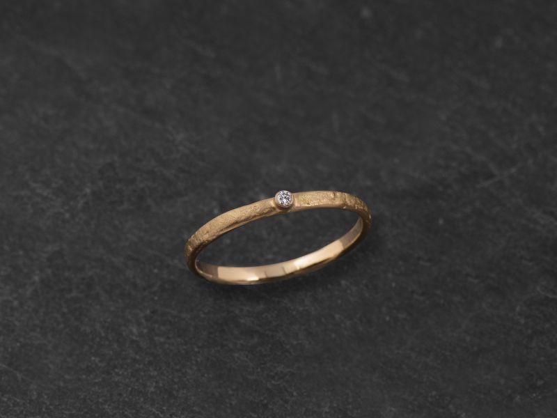 Mon Chéri stone hammered diamond ring by Emmanuelle Zysman