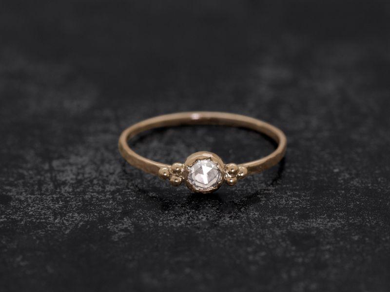 Zelda round rosecut honey diamond ring by Emmanulle Zysman