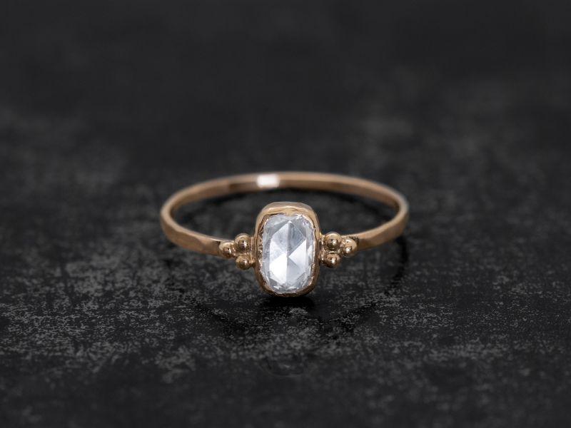 Zelda white cushion rosecut diamond ring by Emmanuelle Zysman