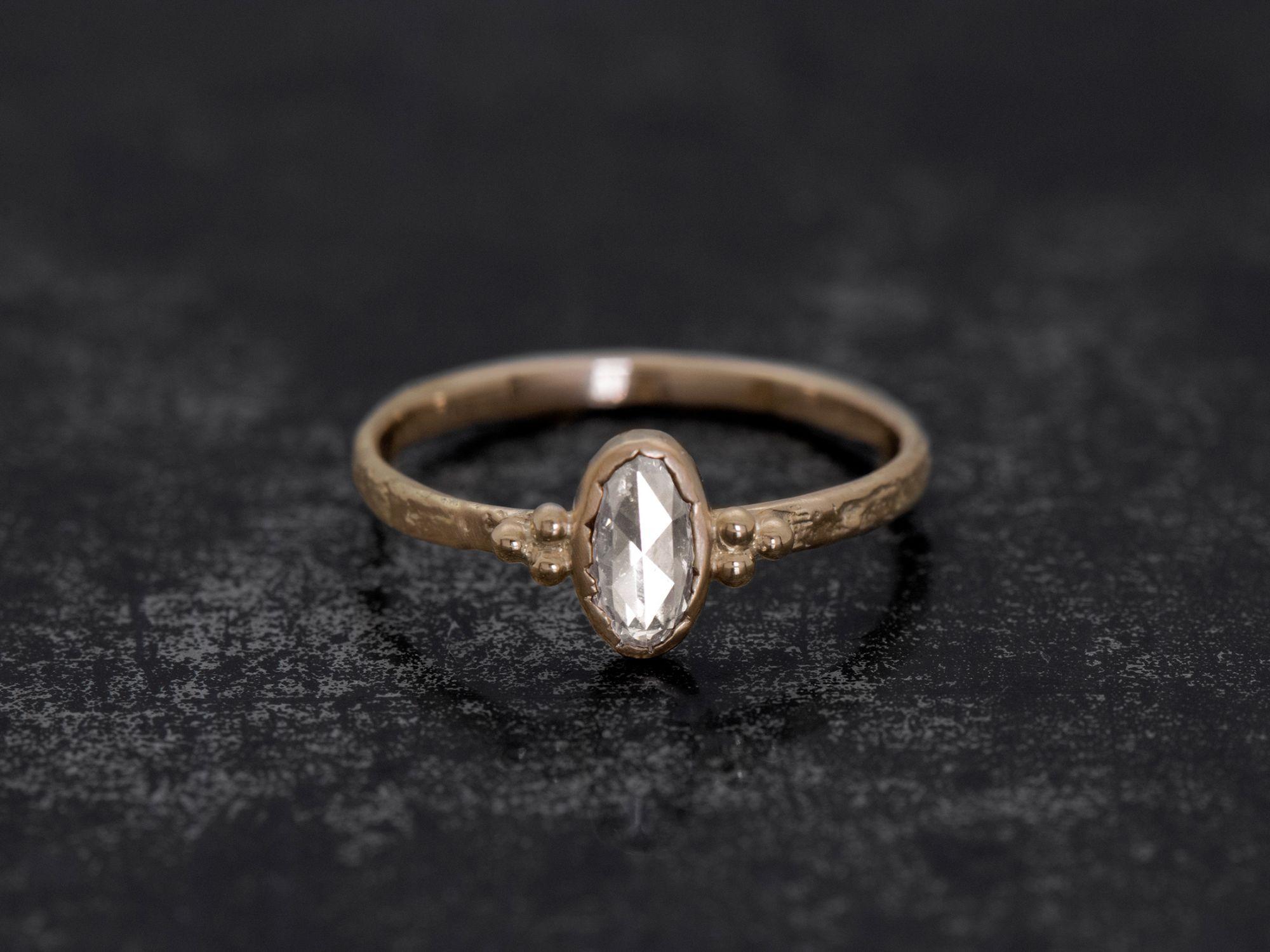 Romy oval rosecut honey diamond ring by Emmanuelle Zysman