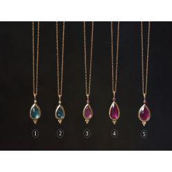 Collier Mysore or jaune tourmaline verte et diamant, tourmaline rose et rubis par Emmanuelle Zysman