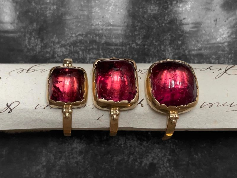 Queen B yellow gold and pink tourmaline rings by Emmanuelle Zysman