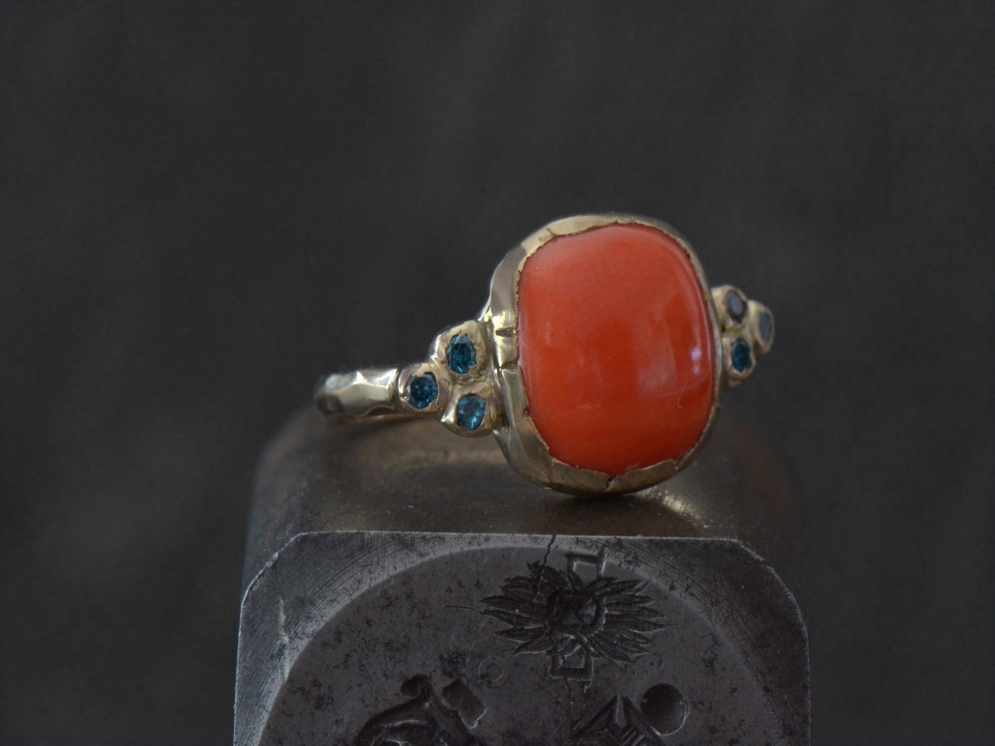 Coral cushion blue diamonds gold ring by Emmanuelle Zysman