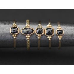 Black Diamond Yellow Gold Solitaire Rings by Emmanuelle Zysman