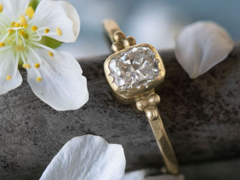 Eve yellow gold cushion diamond ring by Emmanuelle Zysman