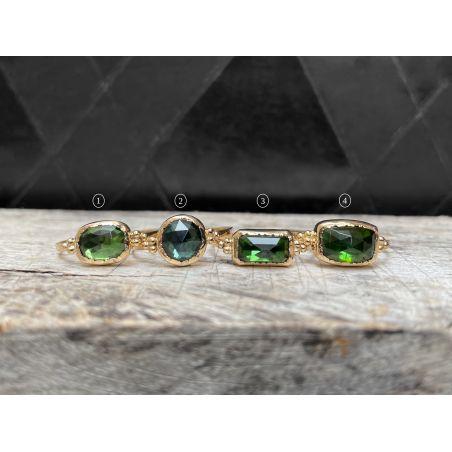 Zelda yellow gold green tourmaline ring by Emmanuelle Zysman