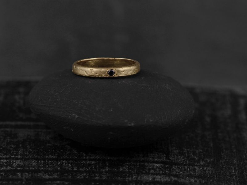 Lorelei black diamond vermeil ring by Emmanuelle Zysman