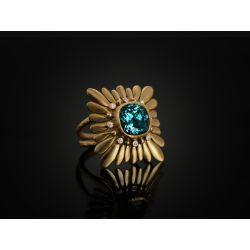 Mila Cushion Indigo Tourmaline Ring by Emmanuelle Zysman
