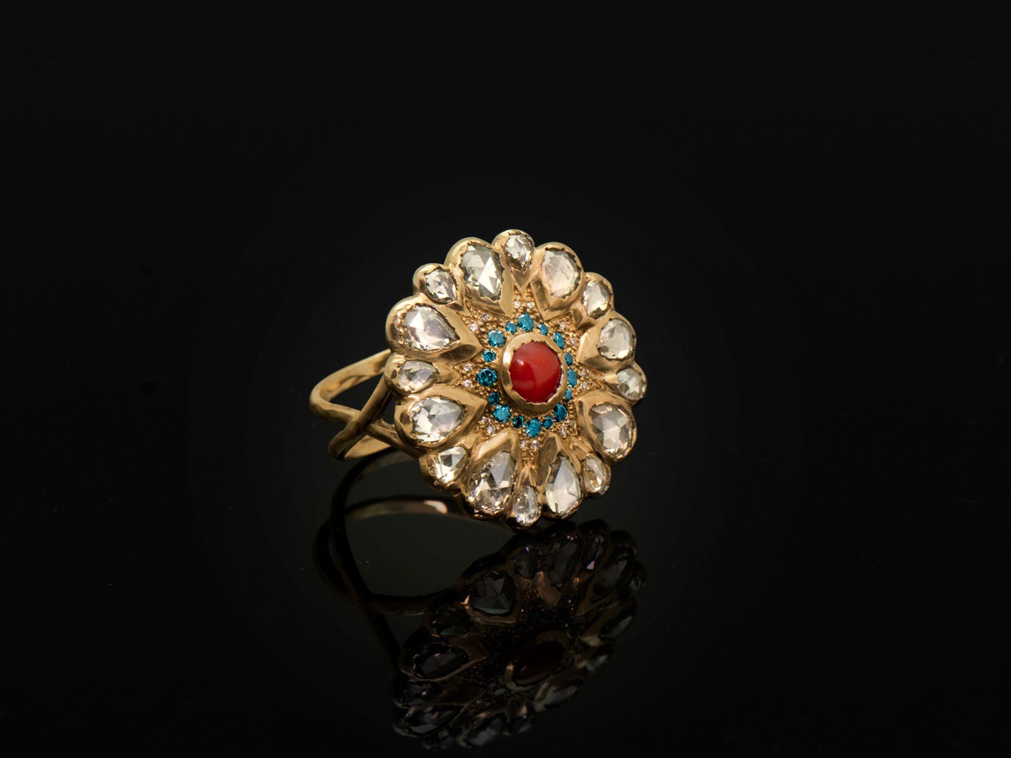 Vesna Coral Diamond large ring B by Emmanuelle Zysman