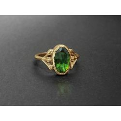 Baby Diane yellow gold rosecut oval tourmaline ring by Emmanuelle Zysman