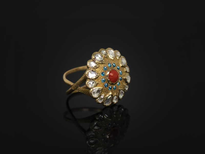 Bague Vesna Corail Diamants grand modèle A par Emmanuelle Zysman