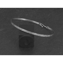 Bracelet Nude carré argent rhodié martelé homme