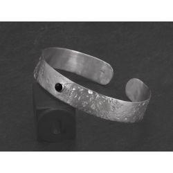 Bracelet Double Ulysse argent rhodié agate noire HOMME