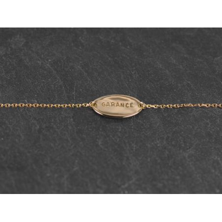 Bracelet médaille lettres frappées or jaune
