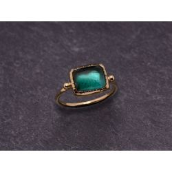 Bague Queen Brunehilde or jaune tourmaline verte rectangle 7x9mm par Emmanuelle Zysman