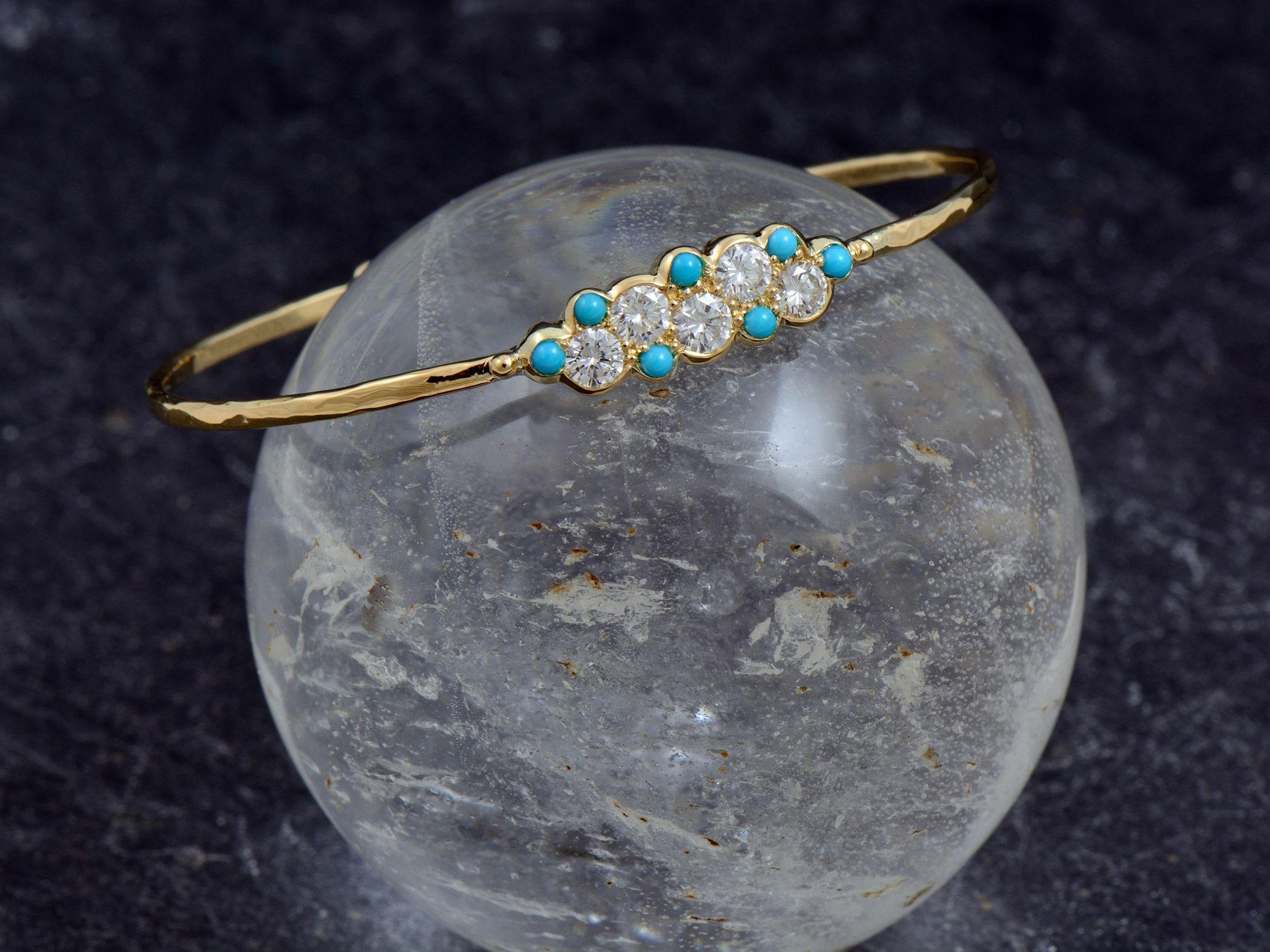 Bracelet Nuage or jaune turquoise diamant par Emmanuelle Zysman
