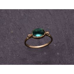 Brunehilde yellow gold green tourmaline ring by Emmanuelle Zysman