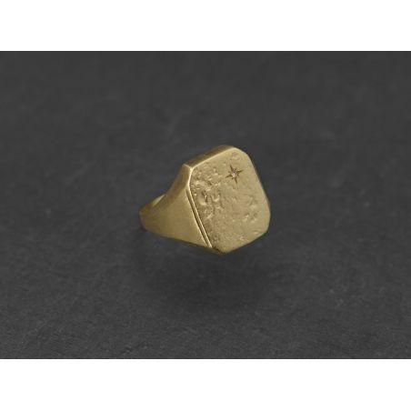 Chevalière Nemours vermeil diamant miel par Emmanuelle Zysman